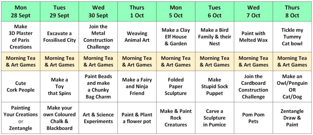 holiday art class timetable