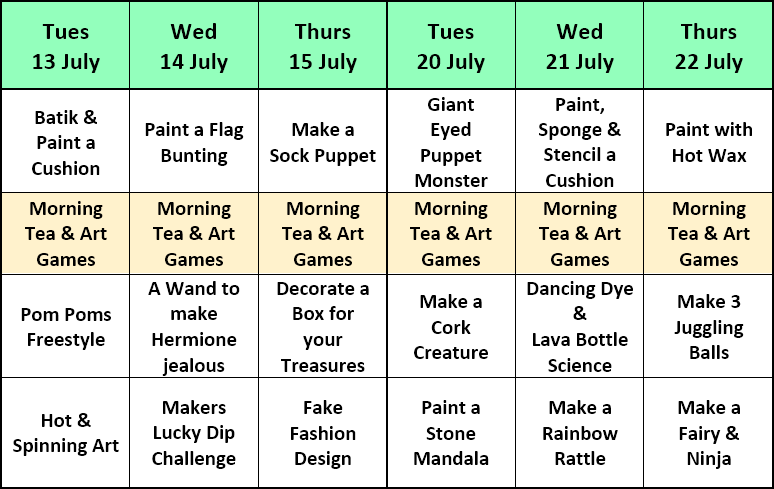 July Holidays 2021 Art Classes Timetable